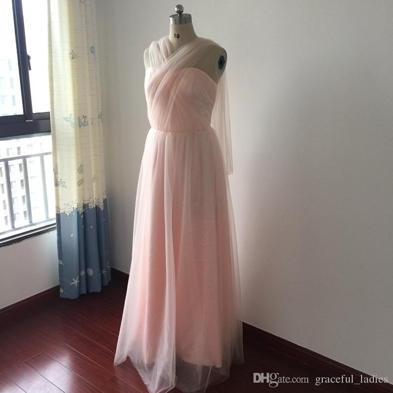 Blush rosa abito da damigella d'onore pavimento lungo abiti da damigella d'onore abiti da cerimonia nuziale gli ospiti Vestito semi formale Abito convertibile Immagine reale