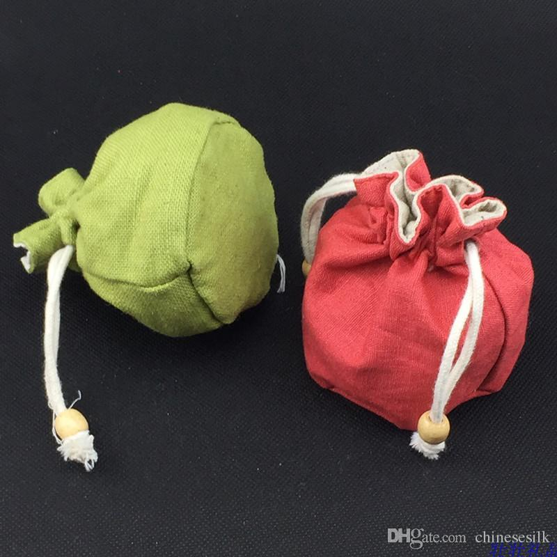 Plain Round Bottom Cotton Linen Bag Jewellery Gift Packaging Bags High Quality Small Drawstring Bucket Bag