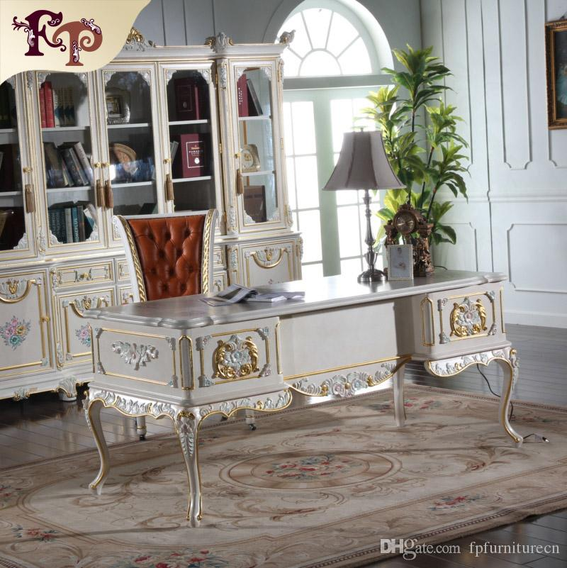 Antique Classic Writing Desk Baroque Study Room Furniture Solid Wood Frame European Style Office