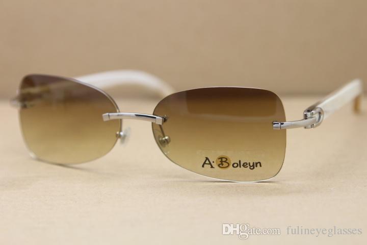 Hot T8100864 men Rimless White Buffalo Horn Glasses Genuine Natural Sunglasses driving glasses C Decoration Size:59-18-140mm