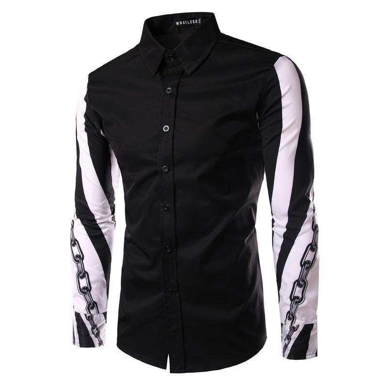 2017 New Men Shirt Fashion Long Sleeve Shirt Men Korean Slim Fit ...