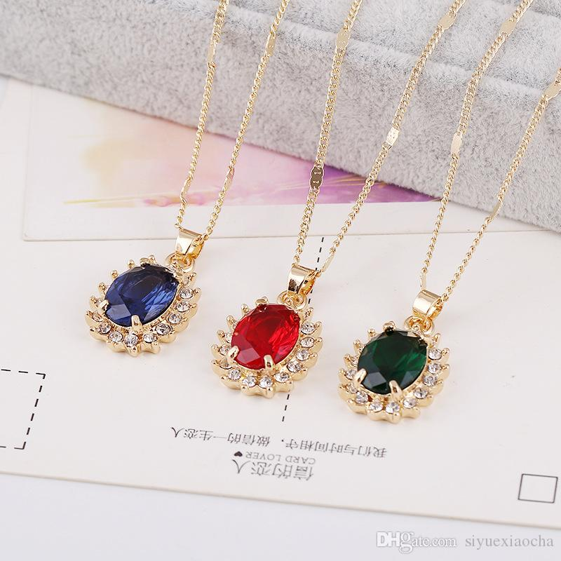 Necklace & Earring set, Red/Blue/Greet gemstone diamond pendants,Ruby,Sapphire for dinner party, wedding, hign quality and