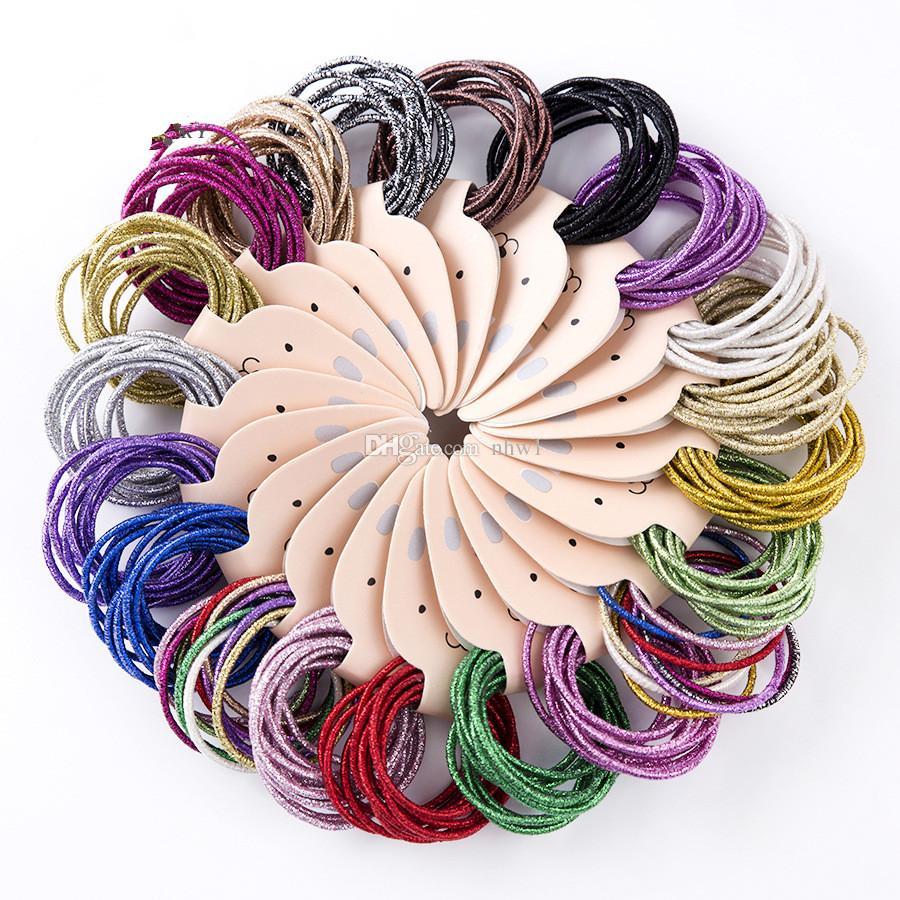 Nueva marca de bebé Básico Banda de goma de pelo elástico alto coreano Bling sostenedor de la cola de caballo cuerda del pelo niños niñas mujeres accesorios para el cabello