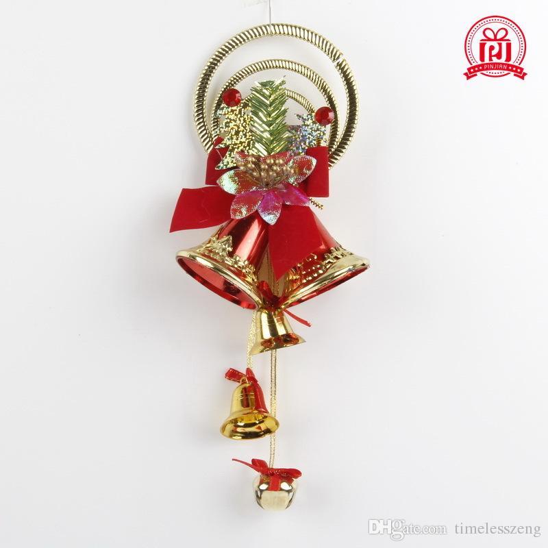 Die Christbaumschmuck Accessoires 6 cm Glocken Set hängen Weihnachtsbaum Zubehör Rot und Gold Farbe