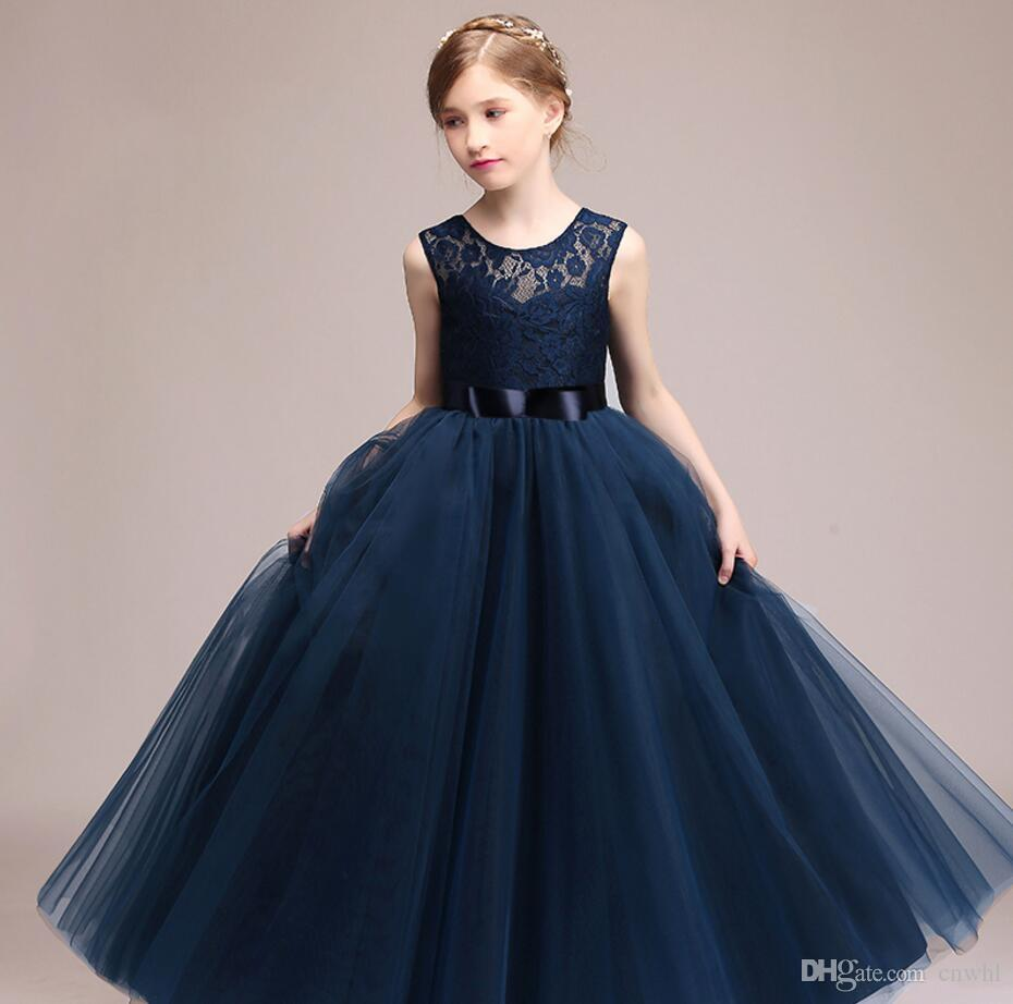 cd4b4081 2019 Kids Girls Wedding Flower Girl Dress Princess Party Pageant Formal  Dress Sleeveless Long Dress For Teenager Girl 5 14 Years Wear From Cnwhl,  ...