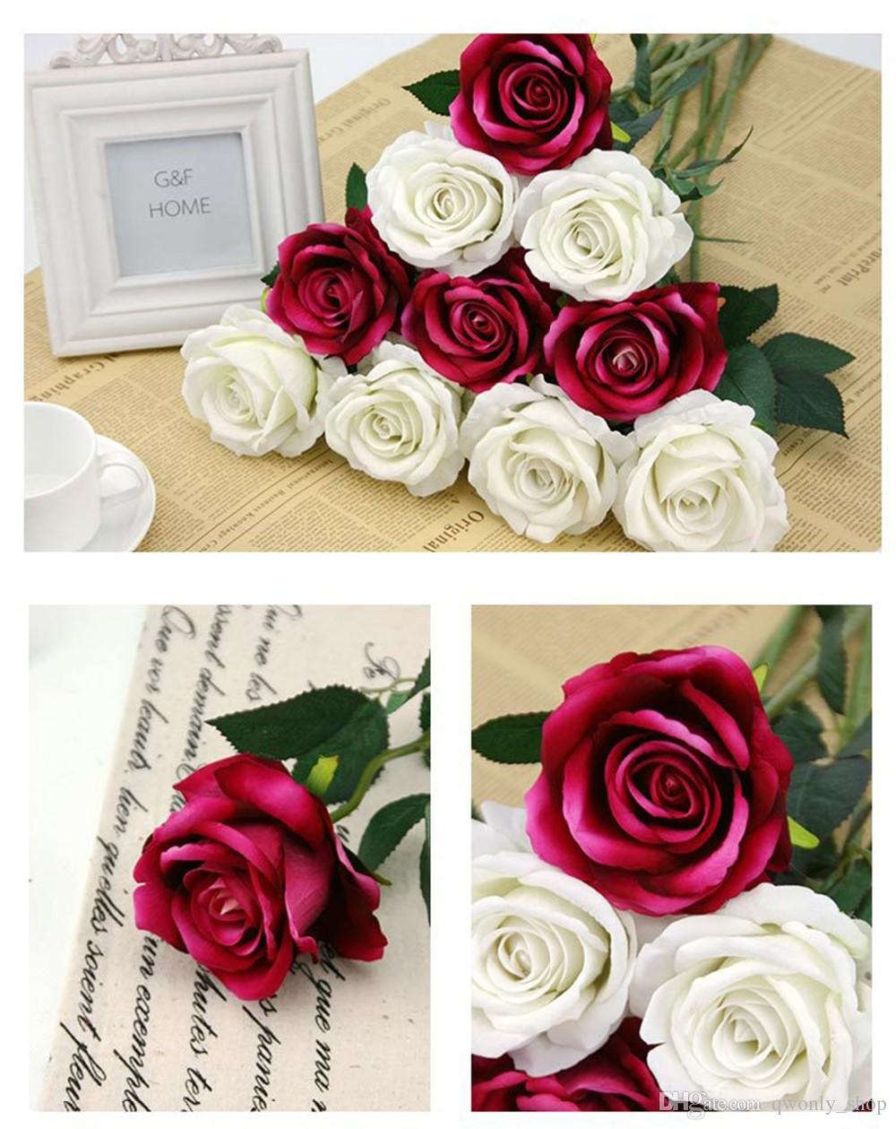 Rote Rose in der Flanell-künstlichen Blume für Hochzeits-Dekorations-dekorative Blumen-Kranz-Anzeigen-Blume an der Wand befestigt