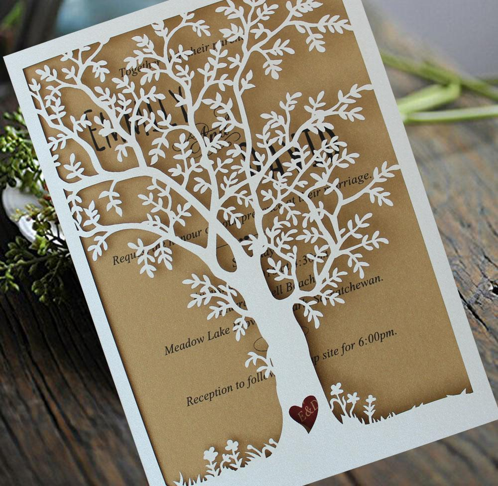 Laser Cut Tree Wedding Invitation Fall Wedding Invitation Cards
