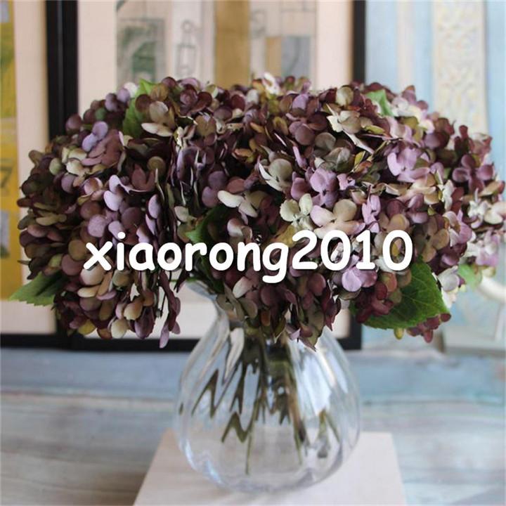 "Silk Hydrangea Bridal Bouquet 34cm/13.39"" Length Ink Hydrangeas 3 heads bunch for Wedding Bride Bouquets Available"