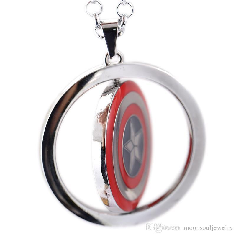 Captain America Necklace Iron Man vs Captain America Hero Rotatable Pendant Necklace Fashion Jewelry For Women Men Kids Toy