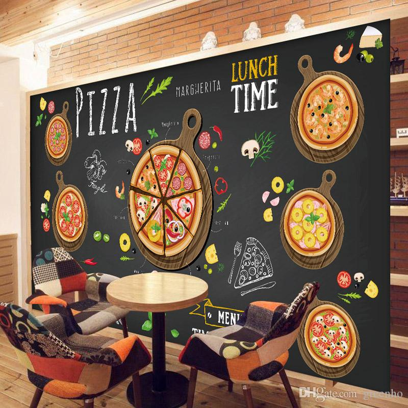 Custom 3d wallpaper for walls 3d pizza shop wall mural for Cafe mural wallpaper