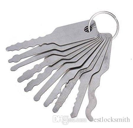10 قطع أدوات jiggler قفل اختيار مجموعة ل جهين قفل اختيار أداة قفل أدوات اختيار أدوات الأقفال