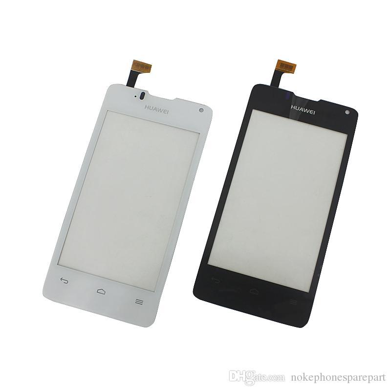 100% testado preto branco para huawei y330 touch screen digitador sensor com logotipo replacment partes 614