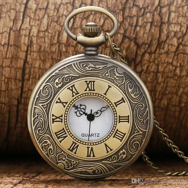 05dd6d32d5aa Compre Collar De Cadena De Reloj De Bolsillo De Cuarzo De Bronce Romano  Antiguo De La Vendimia De Bronce De La Vendimia A  4.07 Del Ailsalanlan