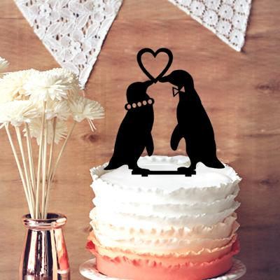 Wedding Party Cake Decoration, Cute 2 Penguins In Love Wedding ...