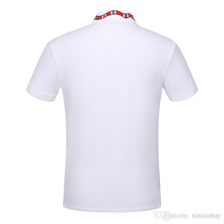 2017 최고 품질의 여름 코튼 티셔츠 티셔츠 칼라 뱀 자수 티셔츠 고품질의 거리 흰색 검정색