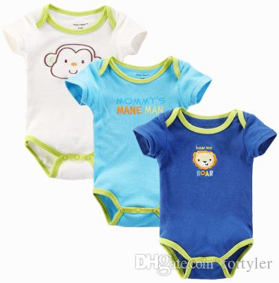 9f1ce3ace 2019 Organic Baby Clothes Plain Color Cotton Print Embroidery Infant ...