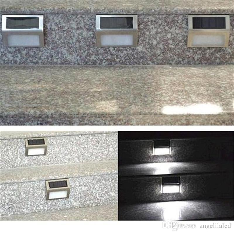 Outdoor Wall Step Lamps Solar Lights IP55 Solar Powered Auto Sensor Light for Modern Fixture Hallway Garden Stair Fence Wall Step Lighting