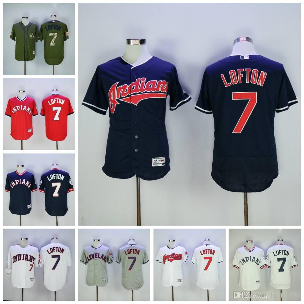 47c7be618 ... Stitched MLB Jersey Hot Sale Mens Cleveland Indians 7 Kenny Lofton  Baseball Jerseys Majestic White Army Green Red Navy ...