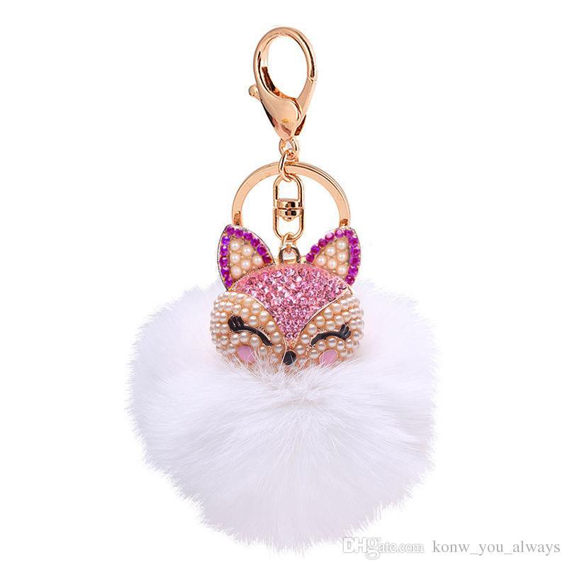 Cute Fox Fur Pearl Ball Strass Portachiavi RingKeyring Portachiavi Car Charm