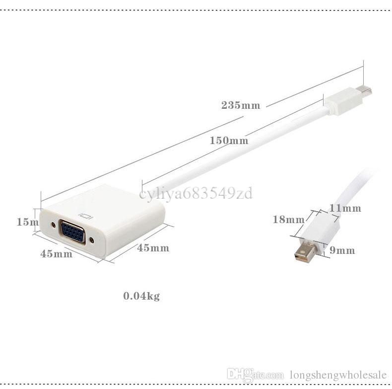 Thunderbolt Displayport Port d'affichage Mini DP vers VGA Adaptateur Convertisseur Câble pour MacBook PC Retail Pack Blanc