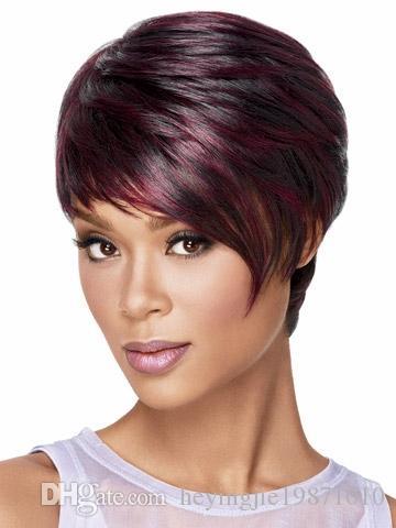 Xiu Zhi Mei Cheveux synthétiques Femmes Perruques Court Bob Perruque Cheveux raides Perruques courtes pour les femmes noires Couleur Pixie Cut Femme afro-américaine