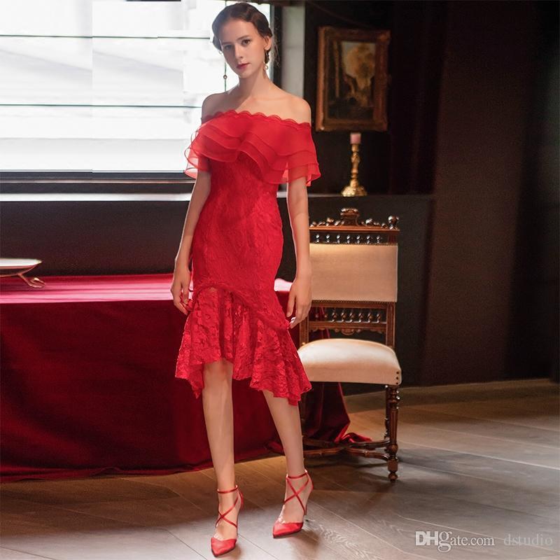 784a36efe Compre Vestidos De Cóctel De Encaje Sexy Rojo