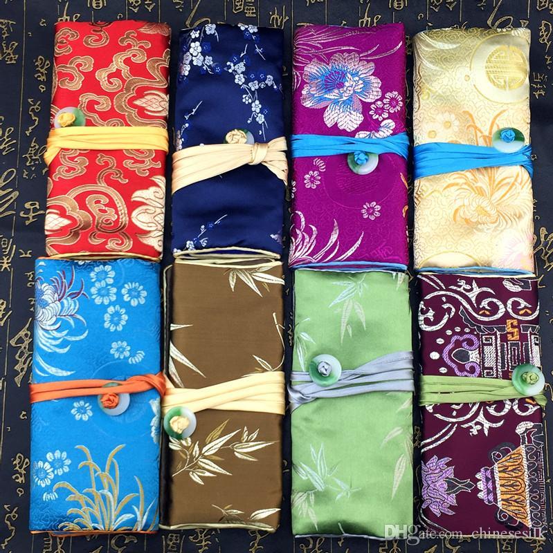 Vouwen Jade Travel Sieraden Roll Up Tas Chinese Zijde Brocade Pouch Dames Make Storage Pouches Trekkoord Grote Cosmetische Tassen Zipper /