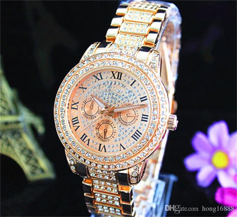 Fashion Uhren Michael Quarzuhr Casual Full Steel Dial Stil Frau über den ganzen Himmel Sterne Crystal Diamond Rom Word Dial Style Uhren