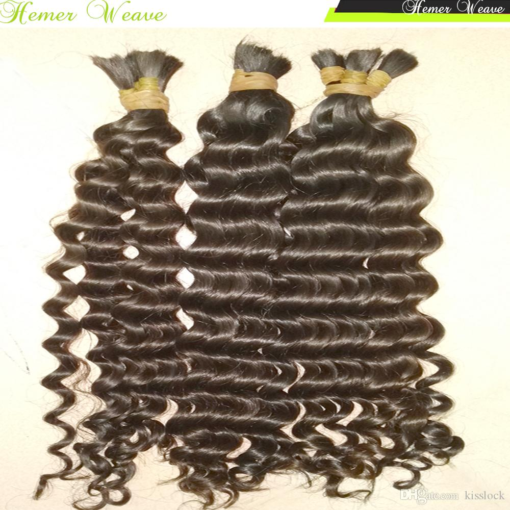 % 100 Virgin Hint saç örgü tığ toplu İnsan Saç Gevşek Derin kıvırcık 300g / Tam Paketler Kardeş Satın Birçok dalga