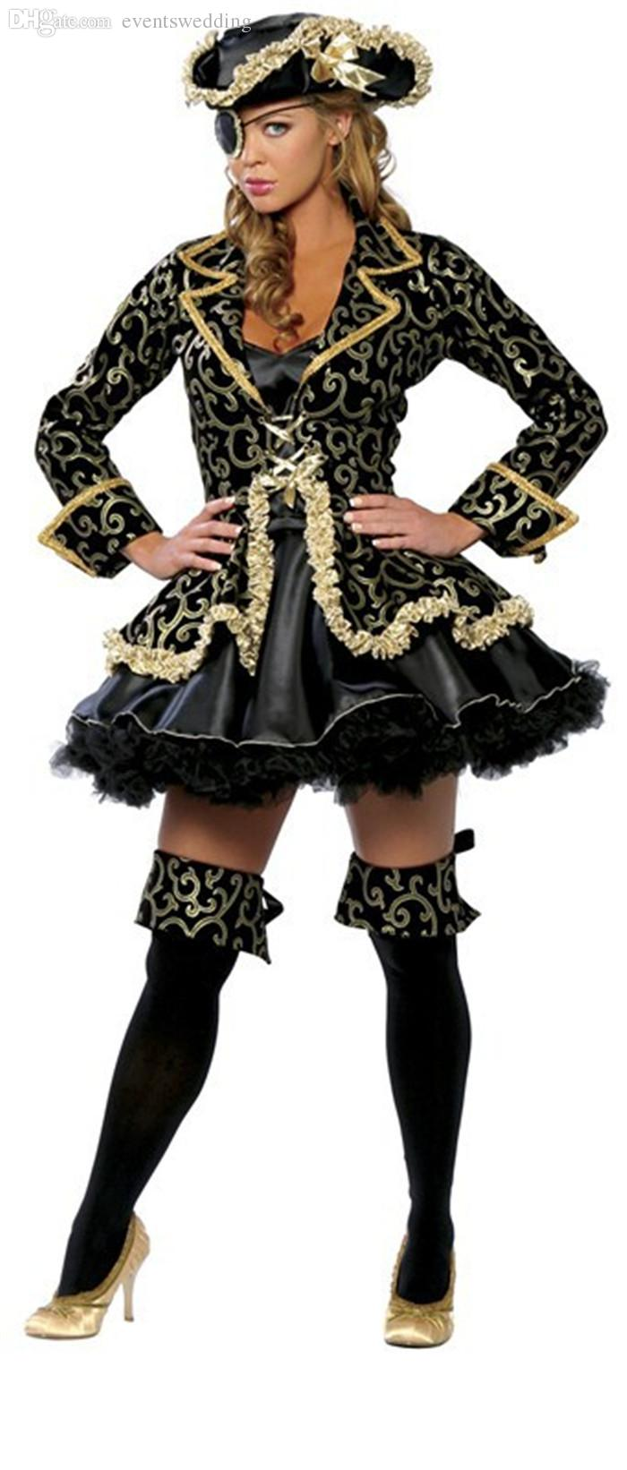 2018 wholesale 2016 hot sale high quality women cosplay black skirt gold sexy pirate costume halloween costume with hat plus size m xl from eventswedding
