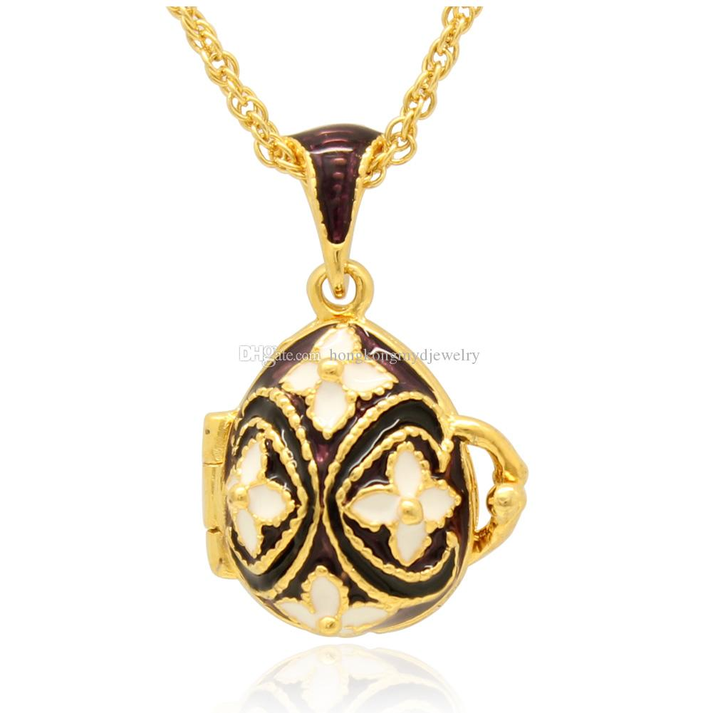 Flower Faberge Egg locket Pendant top enamel Easter Egg Russian Style Necklace with Gold Plated Chain