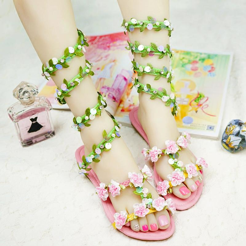 2016 Summer Wedding Sandals Green Leaf And Glitter Sneak Style Women Flat Heel Beach Shoes Dance Performance Party White