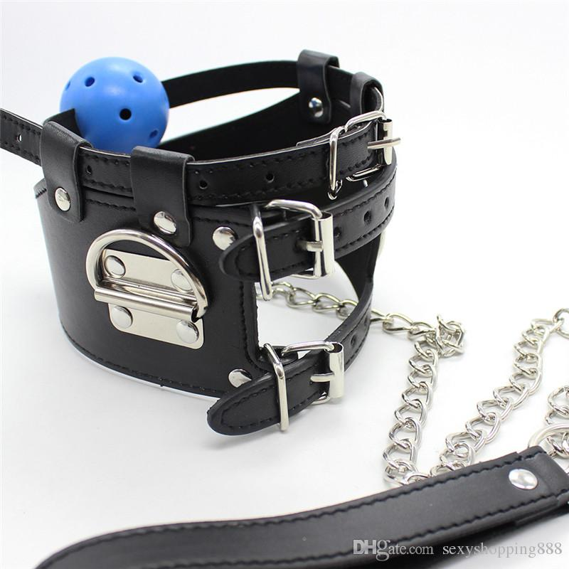 Fun Leather Sex Toy Slave Neck Collar+ Open Mouth Ball Gag Adult Game Toys Sex Products SM bondage fetish Restraint Training Set