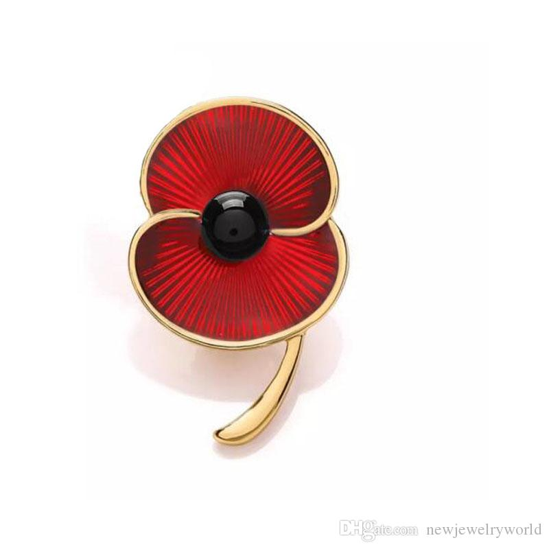 Broche rojo de lujo de la flor de la amapola del esmalte para el día de la conmemoración BRITÁNICO Muy popular y moda prendedores de la flor de la amapola broches de alta calidad