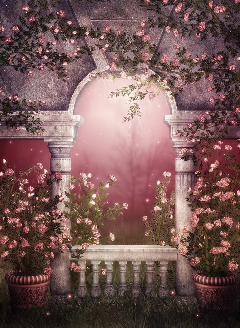 Fantasy vinyl backdrops for photography garden moonlight balcony pink flowers vines romantic wedding photo shoot background vintage background photography