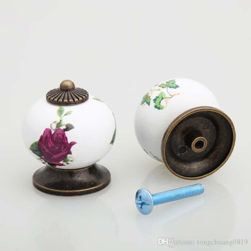 Keramik Vintage Knopf Kürbis Griff Schublade Schrank Kleiderschrank Kommode Rosa