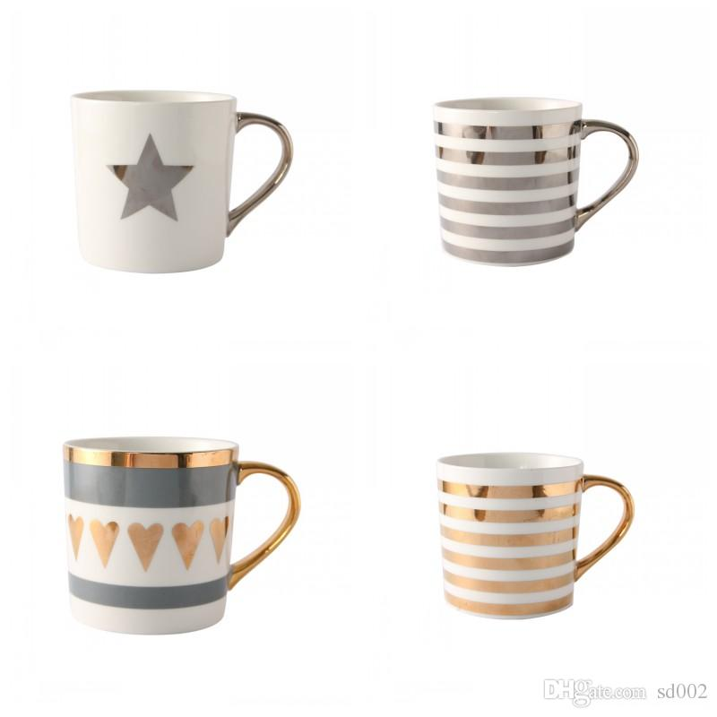 Ceramic Coffee Mug Heat Resisting Milk Cup Gold Painting Porcelain Office Tumbler Love Gift 13 5md C R