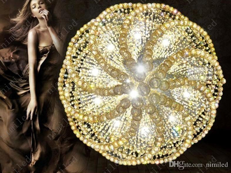 nimi1013 Dia 60-100 cm Duplex Villa Lustre Penthouse Escalier Long Hôtel Lobby Cristal Pendentif Lampe Creative Works Salon Lumières