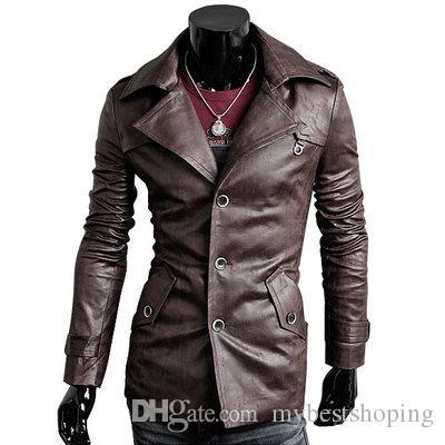 Mens Pu jaqueta de couro / homens Slim Fit terno de couro / terno dos homens / preto, marrom escuro, marrom claro 95866