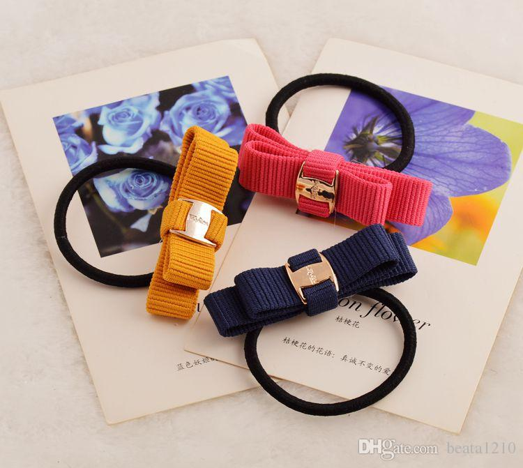Bow Elastic Band for Women Girls 2018 Flower Rubberband Mix Colors Hair Tie Accessories Hairband Korean Style Headpieces Jewelry Store