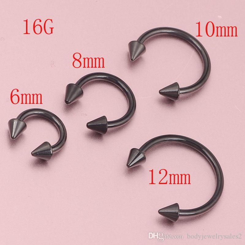 Anodized BLACK Horseshoe Bar - Lip Nose Septum Ear Ring Various Sizes available Piercing Nose Body jewelry
