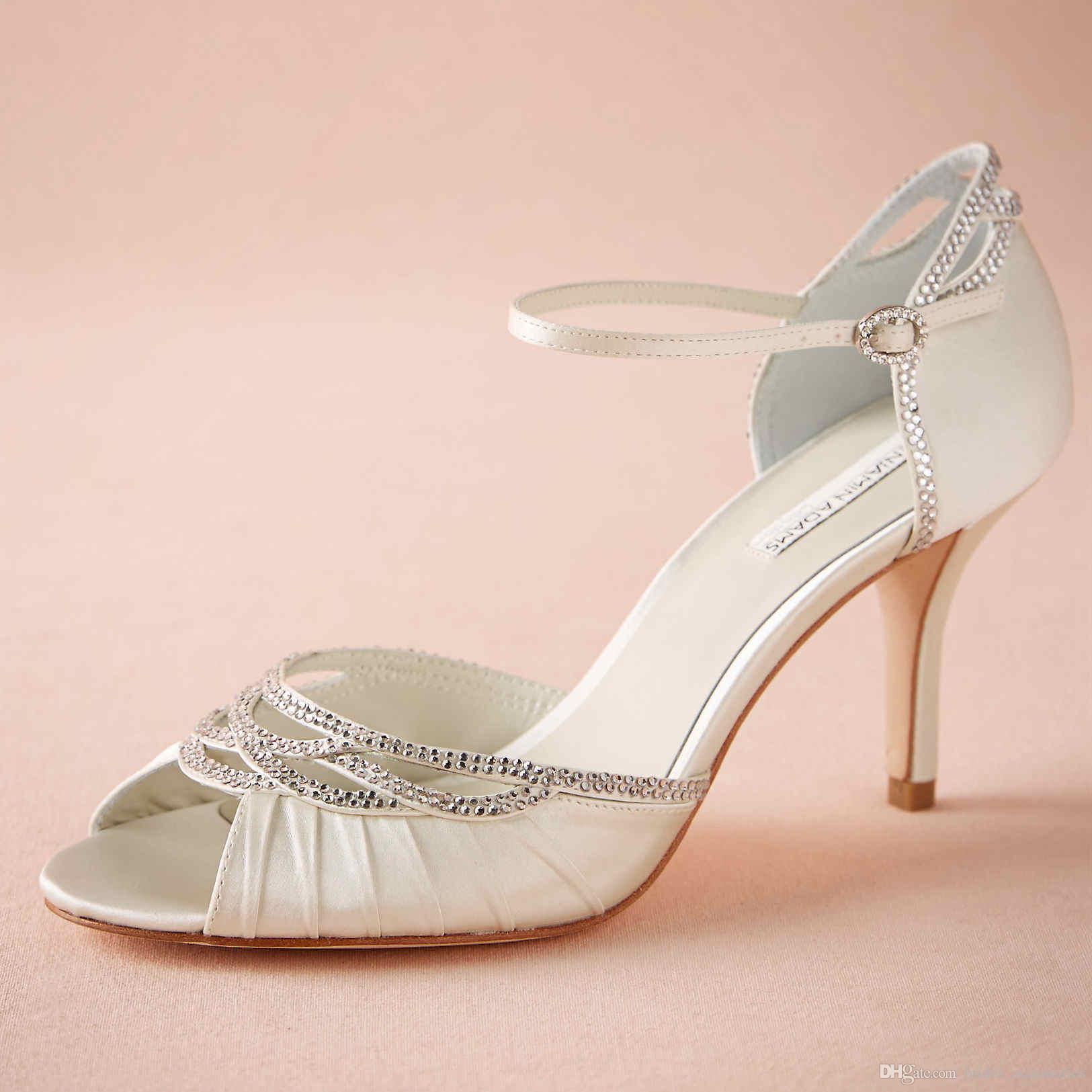Custom Made Bridal Shoes Uk: Ivory Wedding Shoes Sandal Open Toe 2015 Women Pumps Wrap