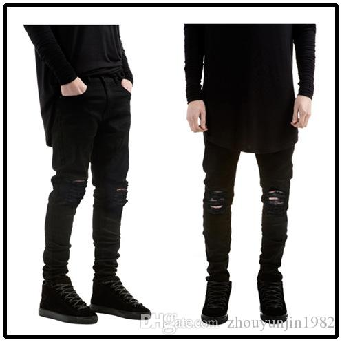 38190355d7 ripped jeans for men skinny Distressed slim famous brand designer biker hip  hop swag tyga white black jeans kanye west