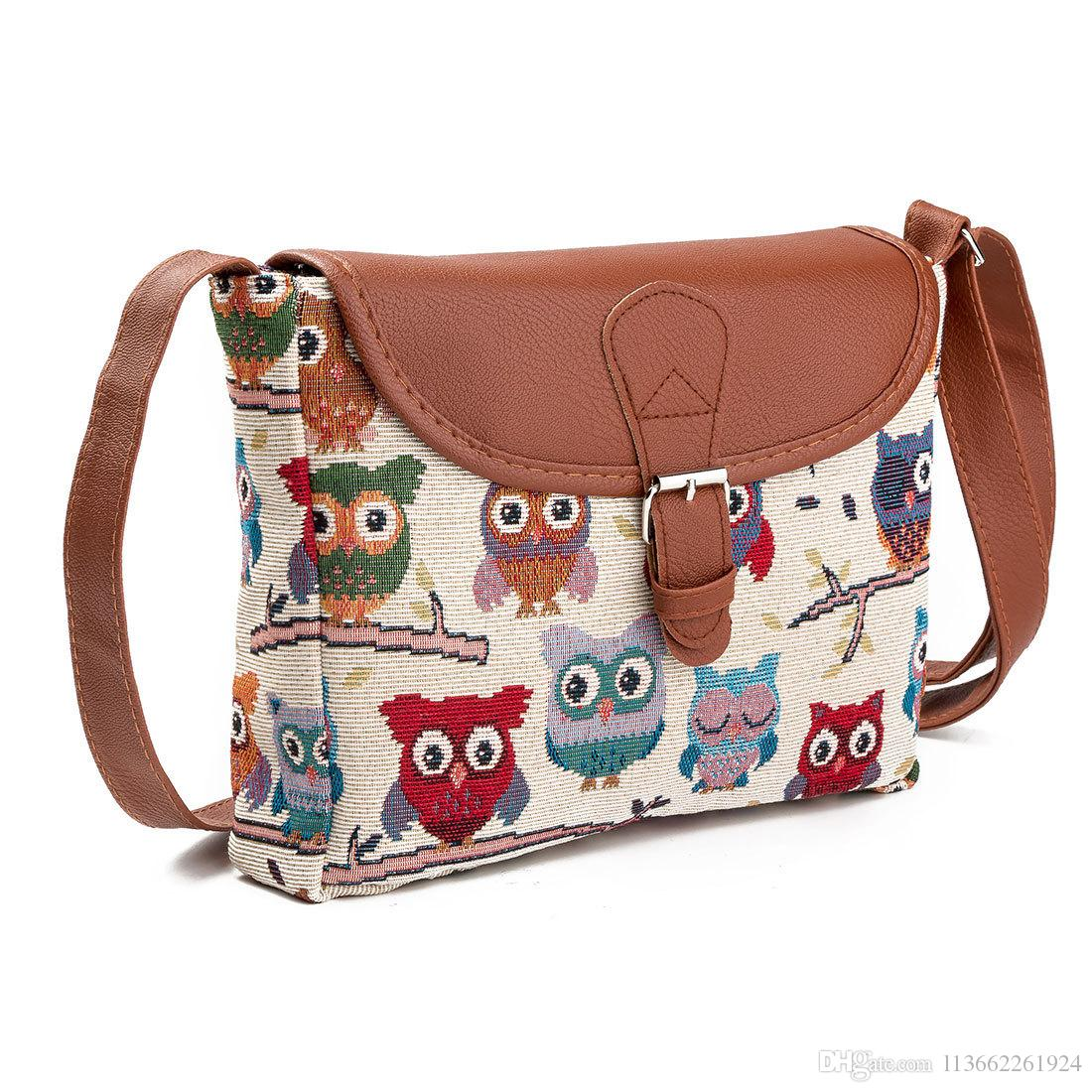 de1bc2dea141 National Owl leather messenger bag canvas bags for women shoulder bags for  women leather long strap shoulder bags