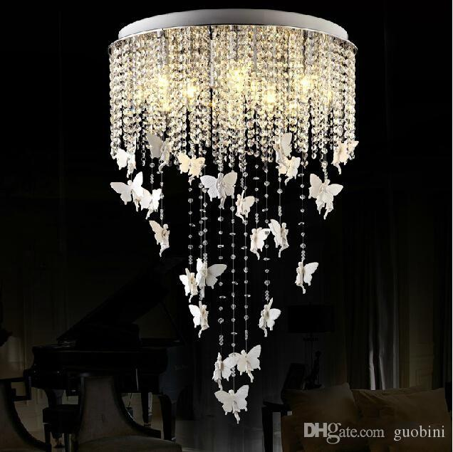 European round crystal lamp princess angel butterfly chandelier pendant lights lighting for living room ceiling lamp bedroom fixture pendant light bulbs red