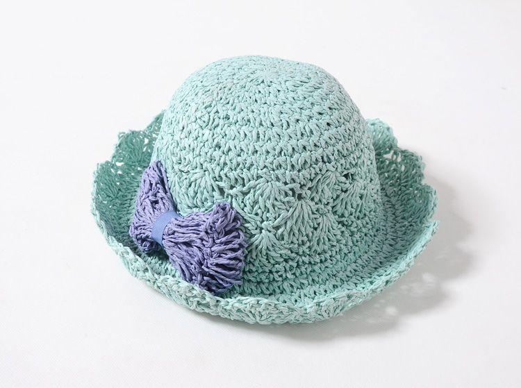 Bebek Çocuklar Için Hasır Şapka Ilmek Plaj Sunbonnet Çocuk Kız Yaz Prenses Güzel Yay Hollow Katlanabilir Saman Kapaklar