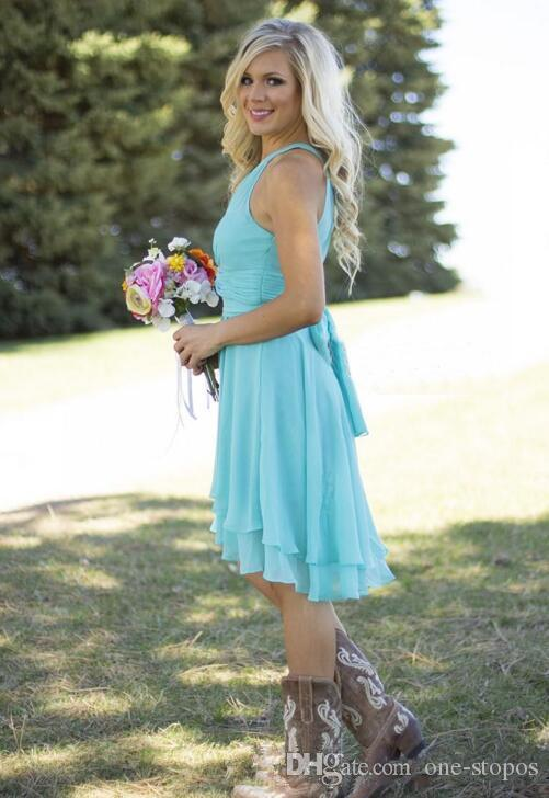Short Chiffon County Bridesmaid Dresses Halter Ruffles Beach Wedding Guest Dress Gull Length Royal Blue Party Prom Gown CPS575