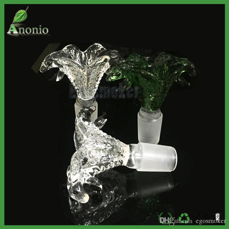 Green And Transparent Clear Cobra Double Head Snakes Glass Bowl 14mm 18mm Male Joint Smoking Bowls For Glass Water Bongs and Smoking Pipes