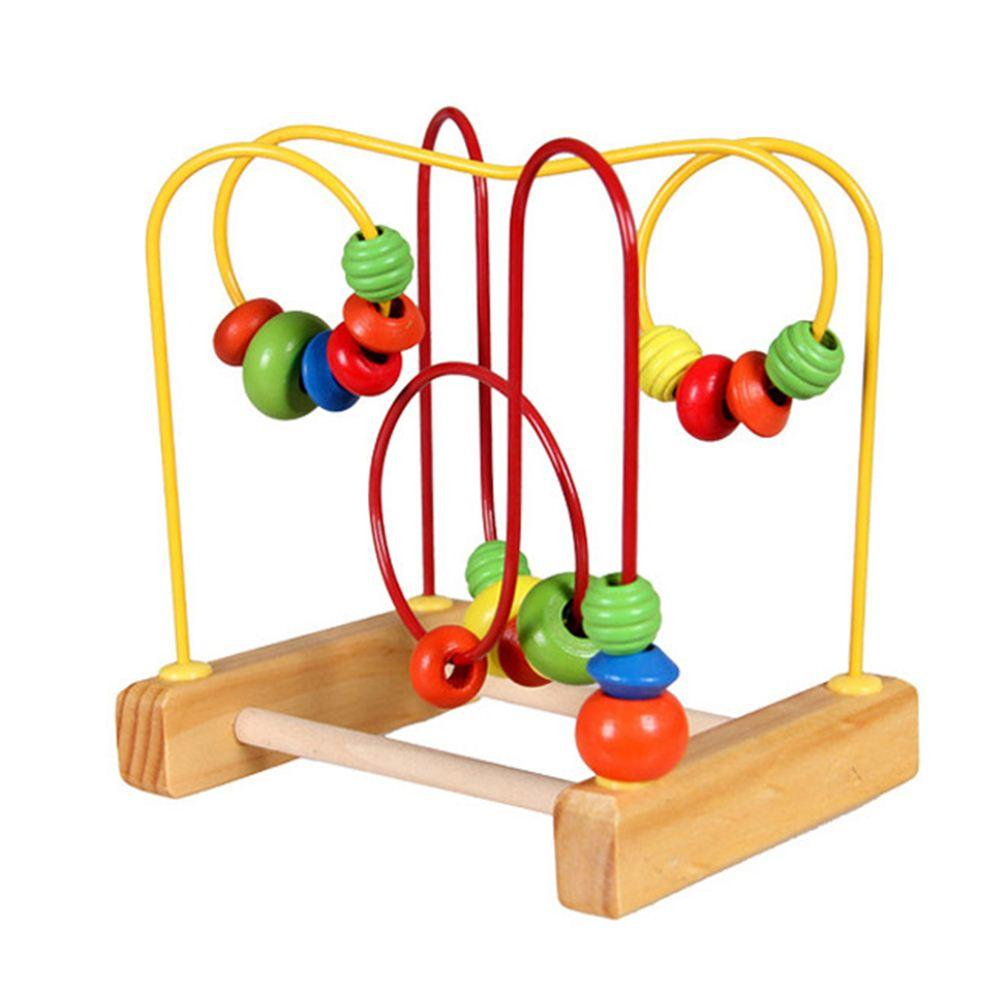 Baby Mini Wooden Around Beads Wooden Toys Maze Baby Intellectual and Brain Development Early Educational Toys for Kids Birthday