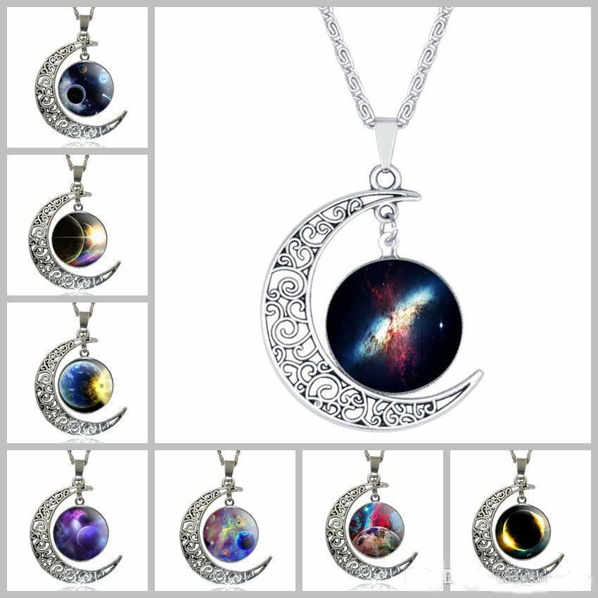 fda2877e56c6 Compre Dijes Collares Para Mujer Marca De Joyería De Plata Declaración De Moda  Collar De Cristal Galaxy Collares Collar Colgantes Collares Maxi Luna A   1.1 ...